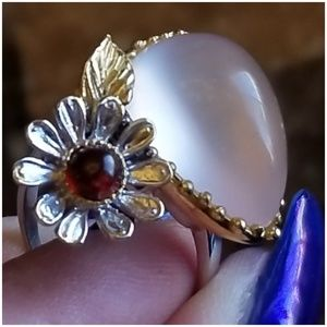 Jewelry - 12ct Rose Quartz & Garnet Designer Ring Size 9.5